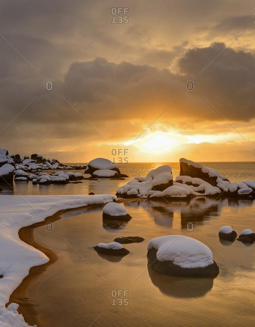 Winter sunrise over Lake Tahoe, Nevada at Sand harbor