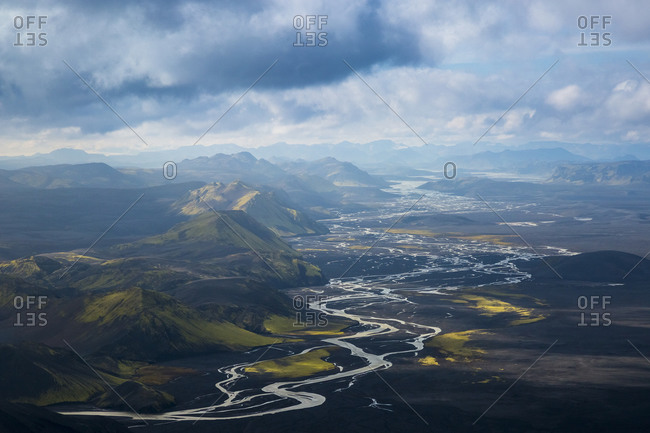 An aerial view of a remote river delta in southern Iceland