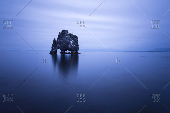 A long exposure of the Hv'tserkur sea stack in northwestern Iceland