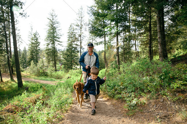 Young boy hiking with his father accompanied by a dog