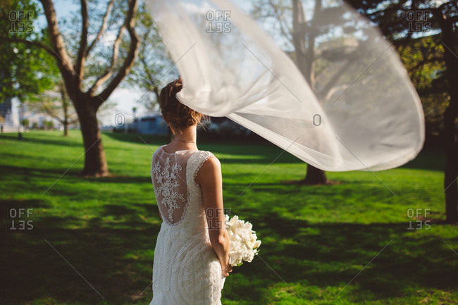 Bride with a wind-blown veil