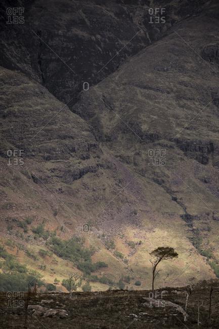 Steep hillsides in an arid landscape