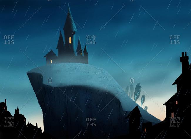 Spooky castle on hilltop