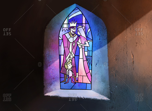 Stained glass window of royal family