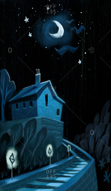 House under crescent moon at night