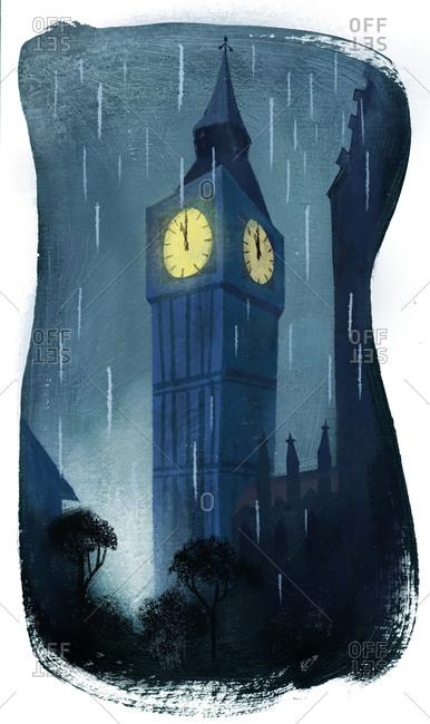 Big Ben on a rainy night
