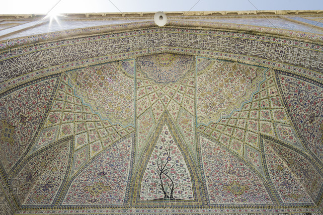 Shiraz, Iran - April 20, 2015: Close up of tile decorations, Vakil mosque