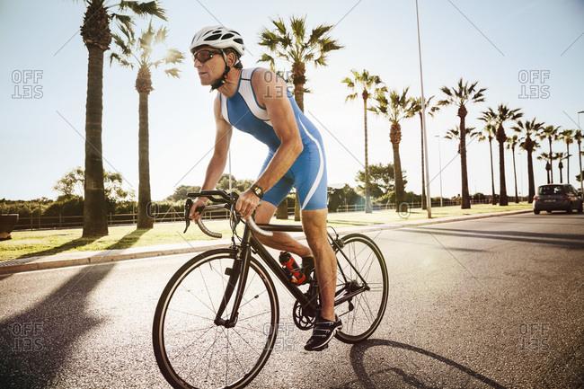 Triathlete training on bicycle