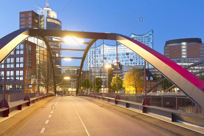Hamburg, Germany - May 7, 2015: Niaederbaum bridge and Elbphilharmonie, Hamburg