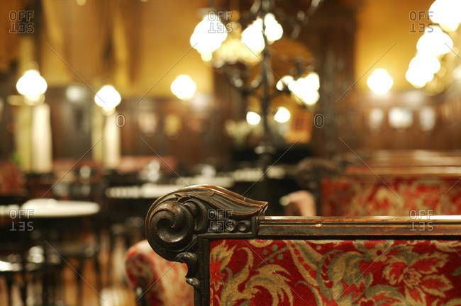 Detail of an ornate furniture in the historic Cafe Sperl, Vienna, Austria