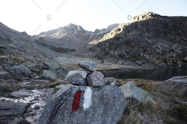 Hiking trail in Aiguestortes i Estany de Sant Maurici National Park, Catalonia, Spain