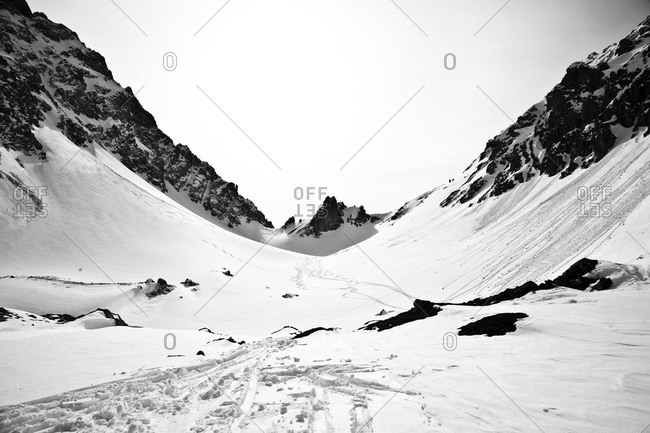 Ski tracks in a valley in Ehrwald, Austria