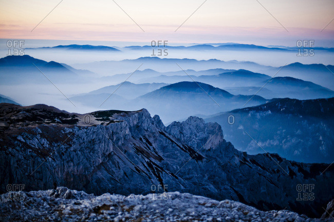 View from the Hochschwab mountain at dawn in Styria, Austria