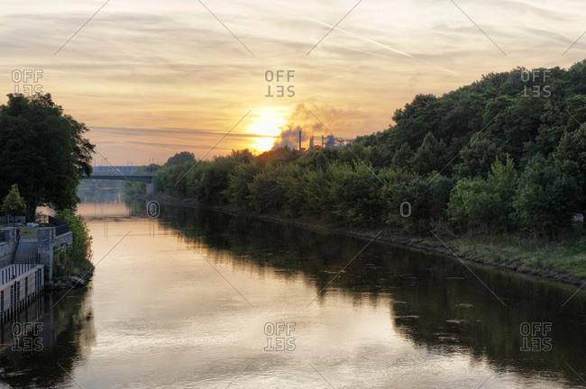 River Saale at sunset in Bernburg, Saxony-Anhalt, Germany