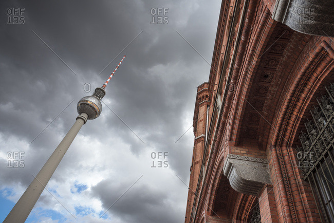 Television Tower and the Rotes Rathaus on Alexanderplatz Square in Berlin, Germany