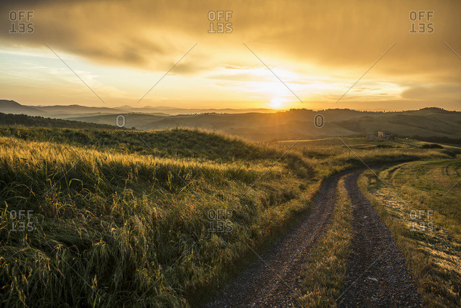 May 30, 2014: Dirt road at sunset nearby Pienza in Siena, Tuscany, Italy