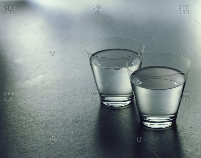 Studio shot of two glasses of water