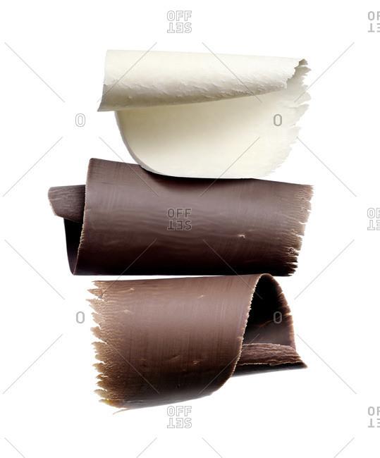 Studio shot of chocolate shavings