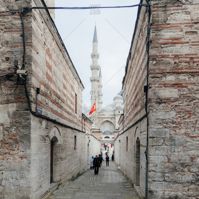 The Ayekan Hamam Soka passage to the Suleymaniye Mosque, in the Historic center of Istanbul, Turkey