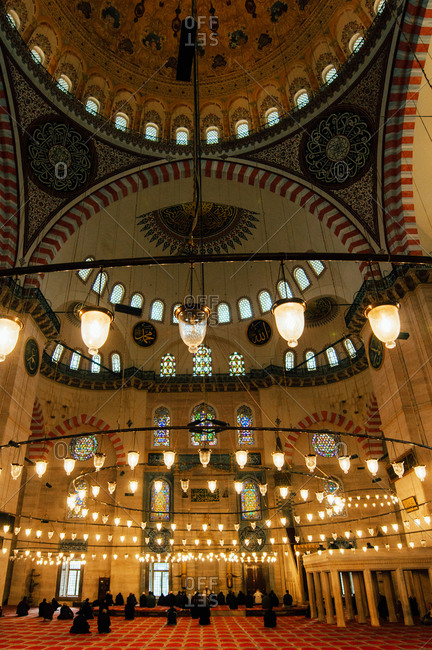 Istanbul, Turkey - December 30, 2010: The main prayer area of the Suleymaniye Mosque