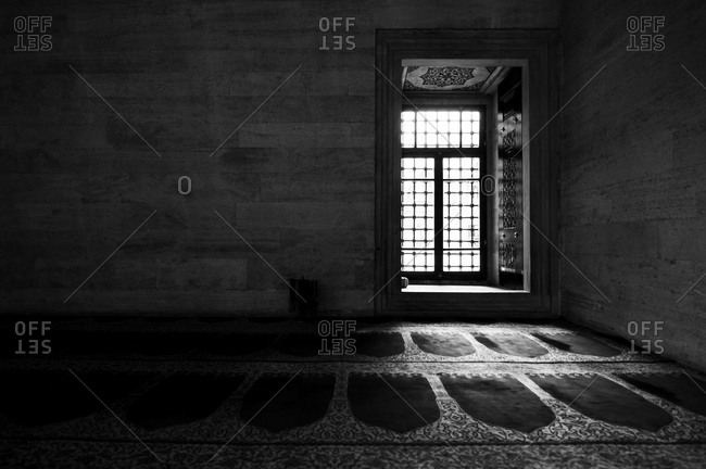 Entrance to women's prayer hall in the Suleymaniye Mosque in the historic center of Istanbul, Turkey