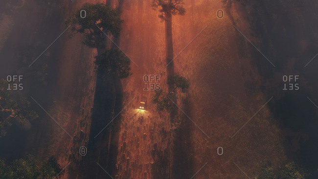 Vehicle headlights approaching through the mist in an eerie glowing red landscape