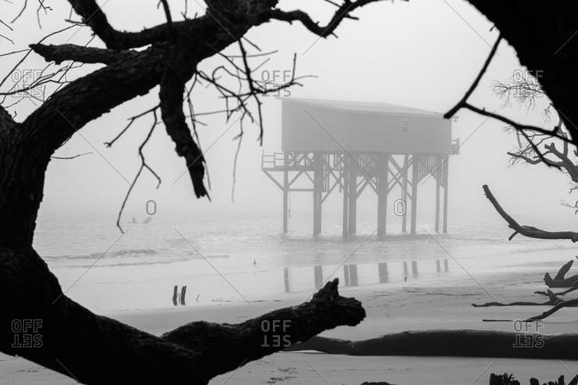 A lifeguard station on stilts on St. Helena Island in South Carolina