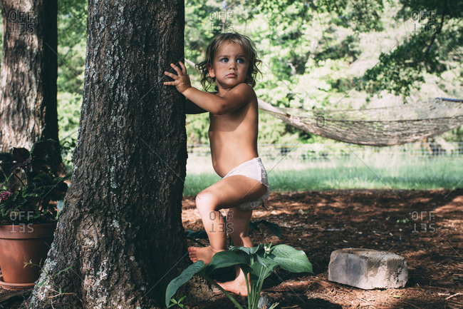 A little girl reaches for a tree trunk