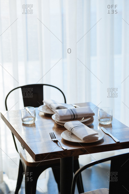 Heritage Restaurant, Reno, Nevada - February 20, 2015: Table set up in restaurant at daytime
