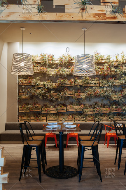 Heritage Restaurant, Reno, Nevada - February 20, 2015: Modern restaurant with plant boxes