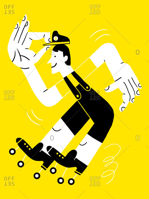 Roller skating person on yellow background