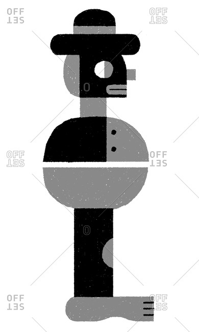 Illustration of a gray character with a hat