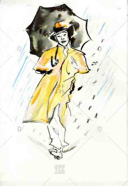 Person in a raincoat with an umbrella