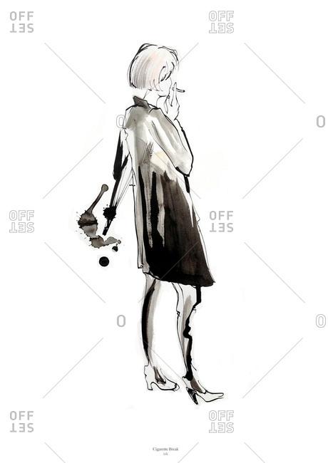Woman taking a cigarette break