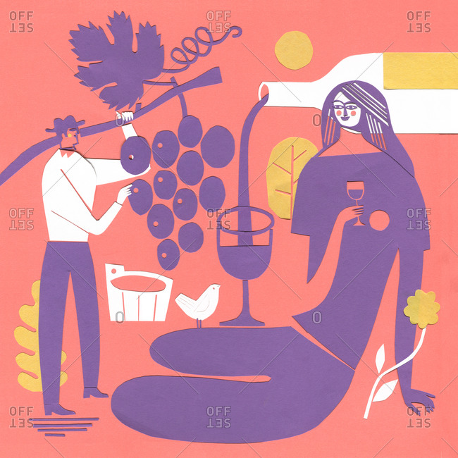 Man picking grapes while woman drinks wine