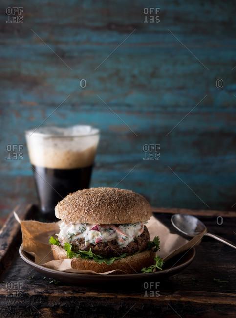 Thai burger with ginger mint cilantro slaw