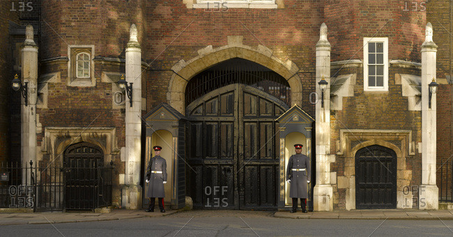 London, England, UK - May 20, 2015: Guards at gate to St. James' Palace in London