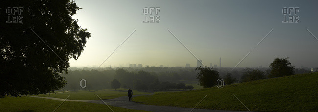 Panorama of Primrose Hill in London at dawn