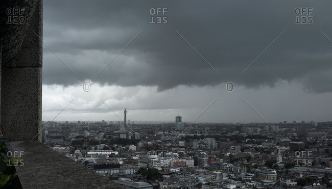Panoramic view of storm clouds over London skyline
