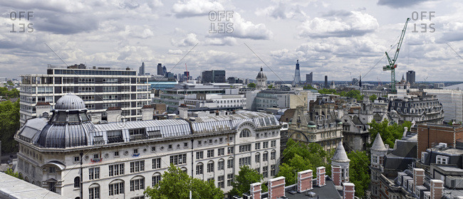 Elevated view of rooftops of the city of London and Victoria House, Bloomsbury, London