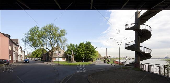 Panoramic view of residential housing in William Allee, Homberg, Duisburg, North Rhine-Westphalia, Germany