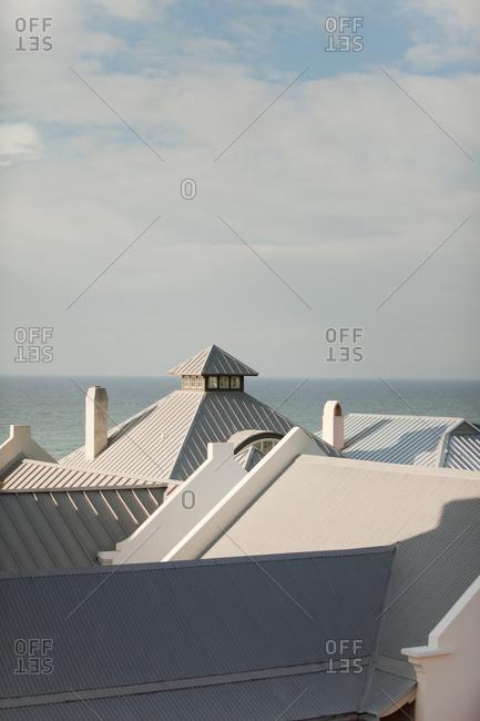 Rooftops of oceanfront building