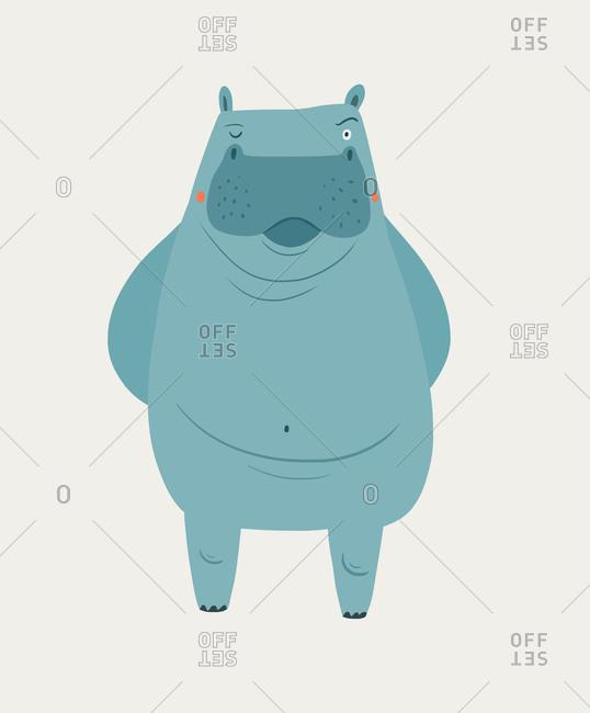 A winking blue hippopotamus