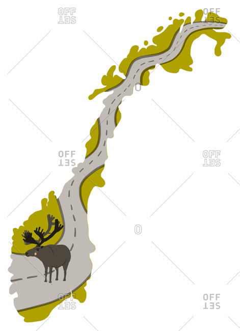 Outline of Norway with a reindeer