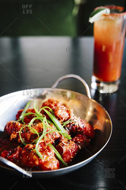 A bowl of Korean friend chicken