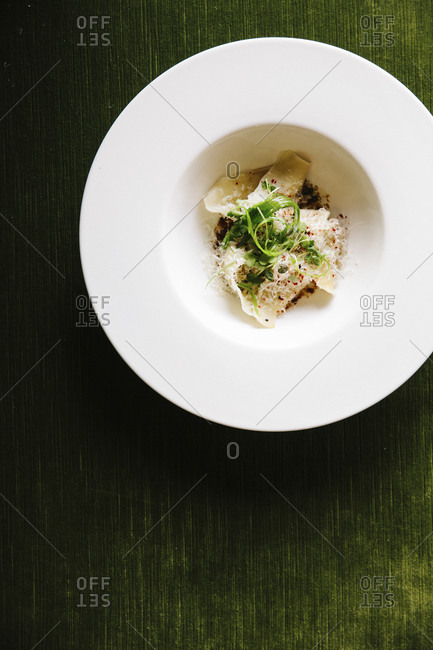 A bowl of oxtail ravioli