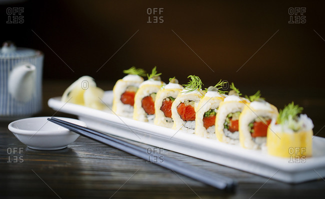 A salmon sushi roll