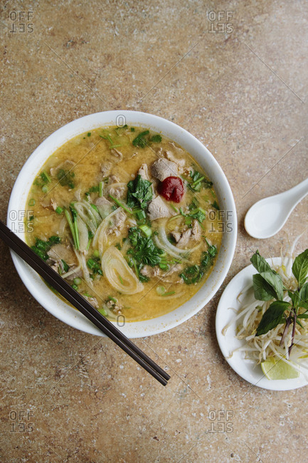 A bowl of satay pho