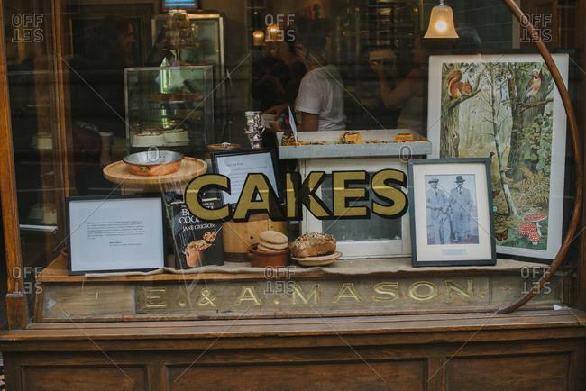 Kent, England - October 18, 2014: Bakery shop window
