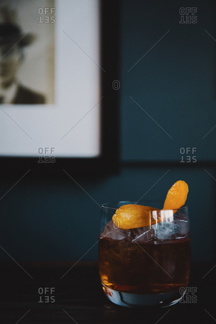 An old fashioned cocktail on a table